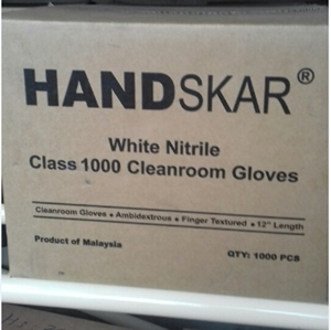 White Nitrile Class 1000 Cleanroom Gloves
