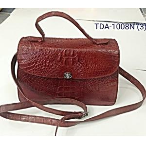 Túi xách nữ da cá sấu - nâu đỏ - quay đeo