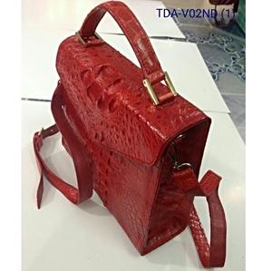 Túi xách nữ da cá sấu -V02, nâu đỏ